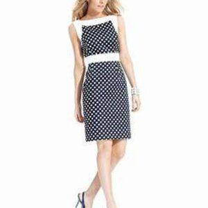 New Tahari 4 Polka Dot Sheath Dress Navy White 129